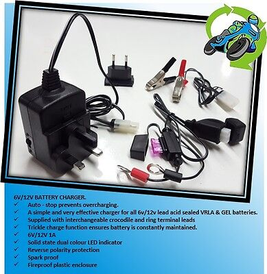 New BIKETEK Universal 6v 12v Motorcycle Moped Battery Charger inc Auto Cut-Off