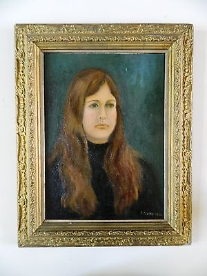 Oil Painting of Girl E. Keeley in Antique Vintage Victorian Gilt Frame