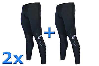 2 x Body Science V7 Mens Compression Athlete Longs -BSc Sports Wear UPF50+ Pants