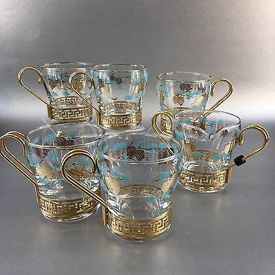 David Douglas Turquoise Pinecone Libbey 5 Coffee Glasses And Creamer glass