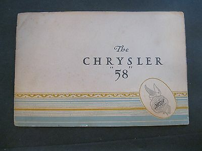 """Vintage Chevrolet 1930's The Chrysler """"58"""" pamphlet with prices"""