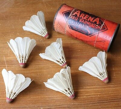 Vintage 1930's Arena Real Feather Table Badminton Shuttlecocks Birdies in Box
