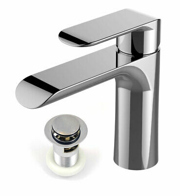 Modern Basin Sink Tap with Waste Round Mixer Chrome Mono Bloc Bathroom Cloakroom