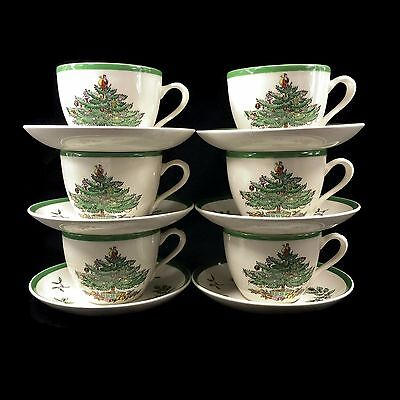Set of 6 Spode Christmas Tree Cups And Saucers Tea Coffee S3324 England