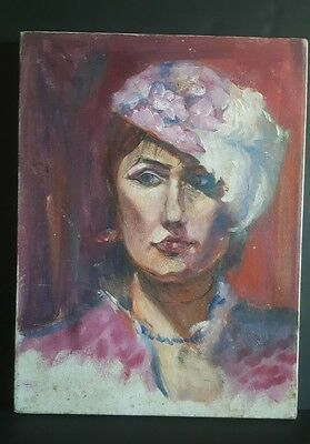 "French Parisian Oil on Canvas Painting Portrait Woman w/Fascinator Hat 12"" x 16"""