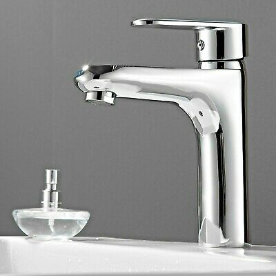 Quality Basin Sink Tap Round Mixer Chrome Monobloc Bathroom Cloakroom with Waste