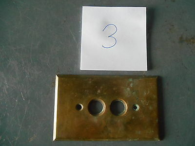 Vintage Double Hole Push Button Brass Light Switch Plate