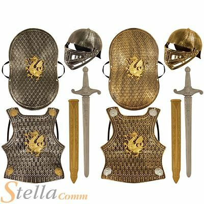 Kids 5 Piece Knight Armour Sword Helmet King Arthur Child Fancy Dress Toy Set