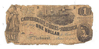 T-44 PF-3 CR-341 1862 Confederate States of America One Dollar Note No.XX78X