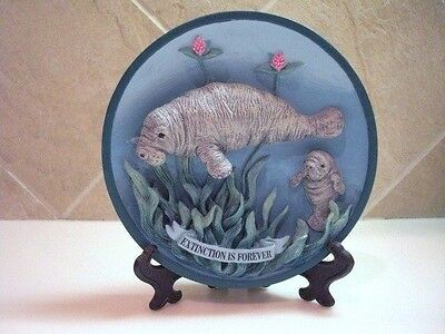 """Small 3-D MANATEE Plate """"Extinction is Forever"""" w/ Plate Stand and Hang HooK"""