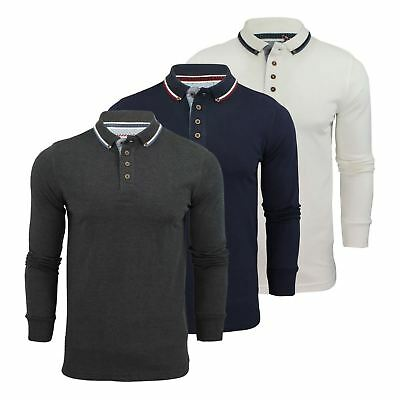 Mens Polo T Shirt Brave Soul Kennedy Long Sleeve Cotton Pique Casual Top