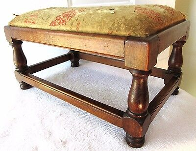 Primitive Antique Foot Stool Milking Farm Country Wood Patina Jacobean Upholster