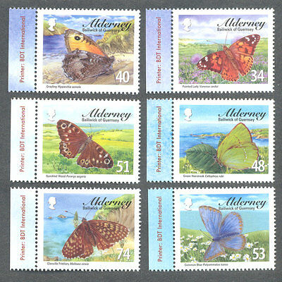Alderney-Butterflies mnh set - insects