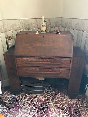 Vintage Art Deco Solid Oak Bureau/writing Desk Mid Century