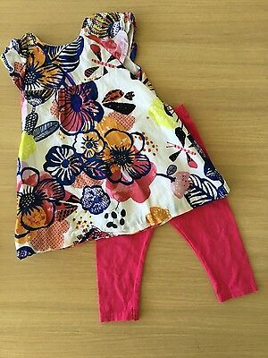 catimini girls 12 months, top and trouser set, flowers