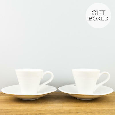 New Portmeirion Sophie Conran White Espresso Coffee Cup & Saucer Set of 2 Boxed