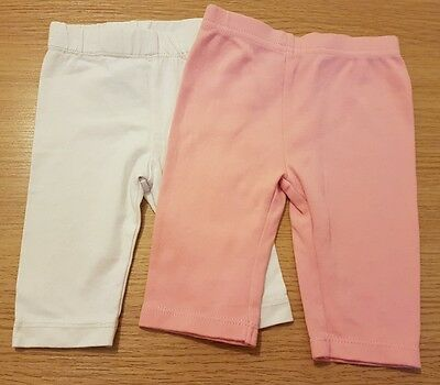 Baby Girls 0-3 Months Leggings Pink White George F&f