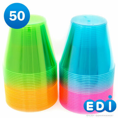 EDI Hard Plastic Cups - 9 Oz. Party Cups Beverage Tumblers in Assorted Neon Colo