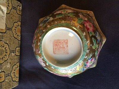 20th Century 'Macau' style porcelain 'Famille Rose' Chinese hexagonal bowl