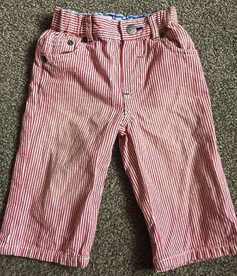 Mini Baby Boden Striped 100% Cotton Trousers Age 6 - 12 Months