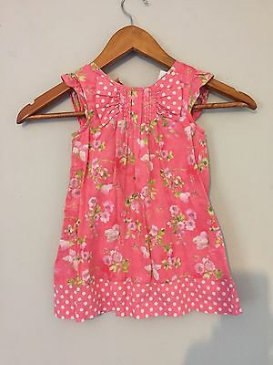 Girls Next Pink Floral Dress Age 12-18 Months In Excellent Condition