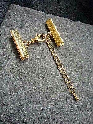 6 Sets Gold Plated Crimp Ends for 13mm Ribbon with 12mm Clasps /& Glass Drop UK