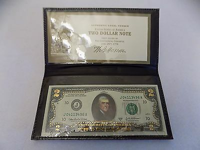 $2 Bill GOLD LEAF, Declaration of Independence, Real US Currency, Free Shipping!