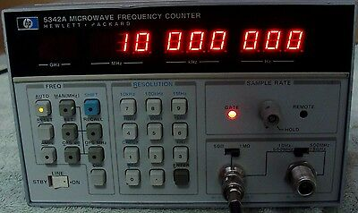 HP - AGILENT 5342A 18 GHz MICROWAVE FREQUENCY COUNTER W/ OPTION! CALIBRATED !