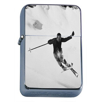 Vintage Skiing D28 Windproof Dual Flame Torch Lighter Refillable Winter Skiers
