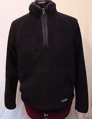 Patagonia Synchilla Womens Size SMALL Black Fleece 1/4 zip Pullover Jacket Coat