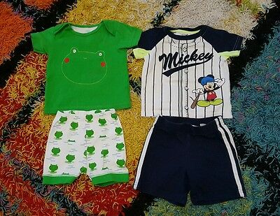 DISNEY/  MOTHERCARE  SHORTS AND T SHIRT SETS Size 12-18 months