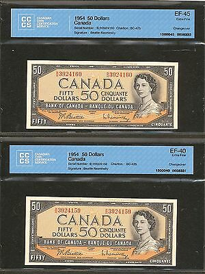 2x Consecutive 1954 $50 Bank of Canada CCCS certified Sequential Serial # pair