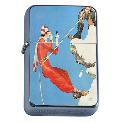 Vintage Skiing D37 Windproof Dual Flame Torch Lighter Refillable Winter Skiers