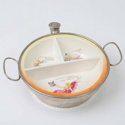 """Antique Child's Divided Fairy Dish in Hot Water Warming Bowl Germany 6.5"""""""
