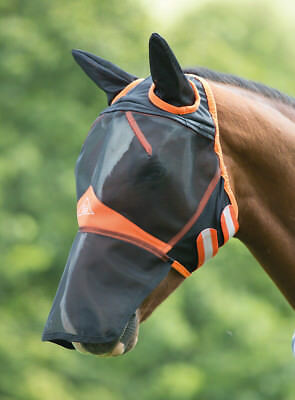 Shires Fine Mesh Fly Mask with Ears & Nose (6665) - P, Cob, Full, Ex F - BLACK