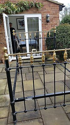 "Antique Victorian 4ft 6"" Brass and Enamel Bedstead"