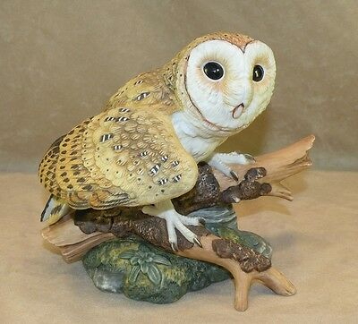 Barn Owl Porcelain Figurine Maruri 1986 Mint Condition Majestic Owl Collection