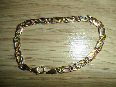 925,sterling Silver Gold Plated Flat Link  7,1/2,inches Curb Bracelet