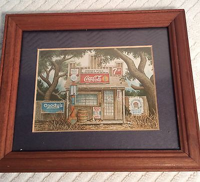 COCA COLA FRAMED MATTED ADVERTISING PRINT JUNIOR'S PLACE STORE Goody's Gulf