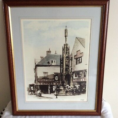 Framed mounted print of Butter Cross, Winchester c 1870, NOT ANTIQUE