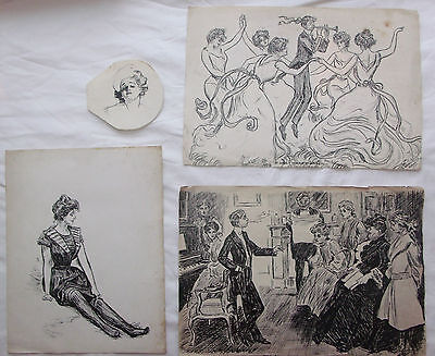 Four Original Pen and Ink Drawings by Charles Dana Gibson