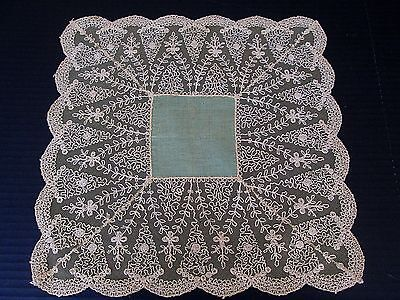 Vintage Linen And Embroidered French Net Lace Wedding Hankie/handkerchief...