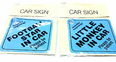 2 Pcs Car Sign Baby Child Safety Be Patient Football Star & Monkey In Car Sign