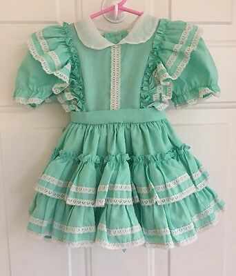 Vtg 50s 60s Mint Green Toddler Baby Girls Ruffle Party Dress Lace Flutter 2T