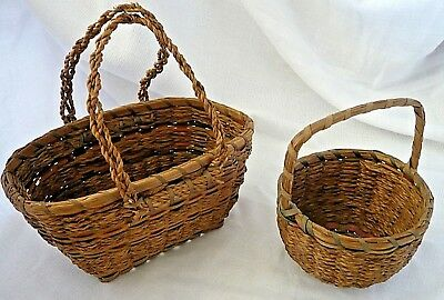 2 Small PENOBSCOT/PASSAMAQUODDY American Indian Sweet Grass Baskets with Handles
