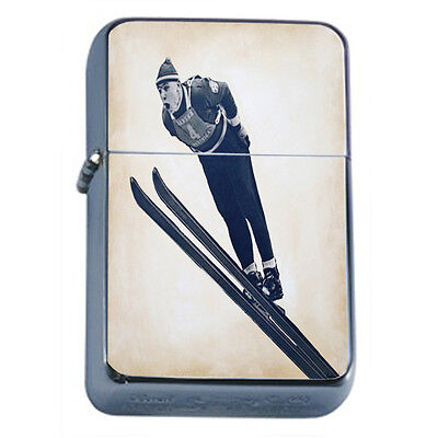 Vintage Skiing D42 Windproof Dual Flame Torch Lighter Refillable Winter Skiers