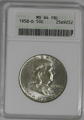 1958-D U.S. 50 Cent Franklin Silver Half Dollar ANACS Slab MS-64 FBL