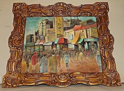 Signed Laura Kirshenbaum American Street Scene Framed oil on Canvas