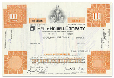 Bell & Howell Company Stock Certificate (Film Projectors)