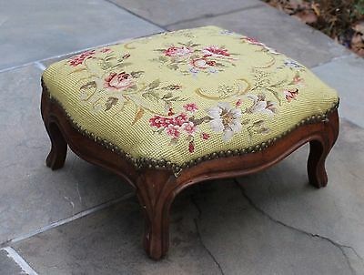 Antique French Country Walnut Needlepoint Floral Roses PETITE Foot Stool Bench